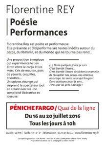 AVIGNON FESTIVAL OFF - Poésie Performances sur la Péniche Fargo / Quai de la ligne - Flyer verso